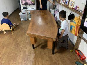 一枚板 ローテーブル ダイニングテーブル DIY